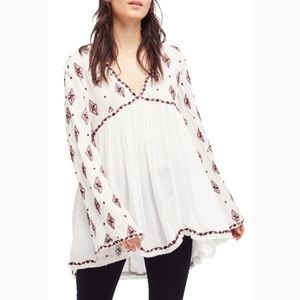 Free People | diamond embroidered gauze top SM